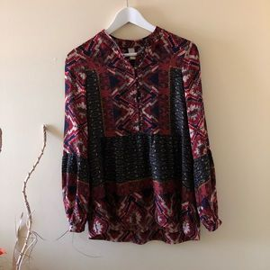Anthropologie Patterned Long Sleeve Blouse